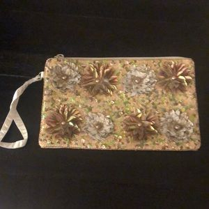 Wristlet -Tan with flower shaped sequins